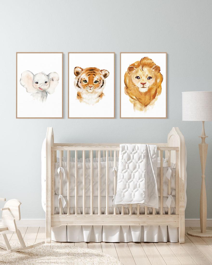 Kit 3 Quadros Decorativos Bebê Zoo - Leão, Elefante, Tigre