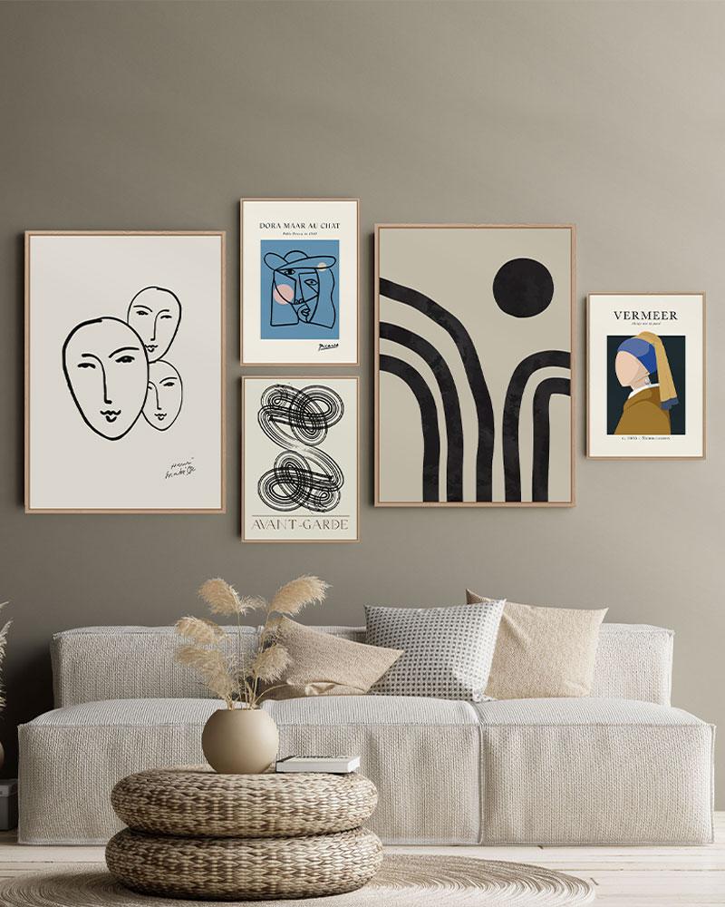 Kit com 5 Quadros Abstratos Clássicos da Arte