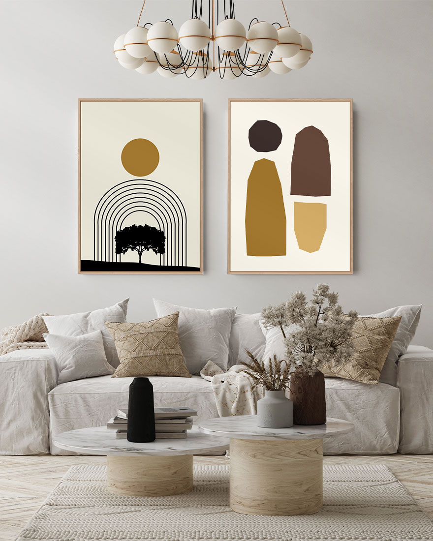 Kit de Quadros Abstratos Árvore