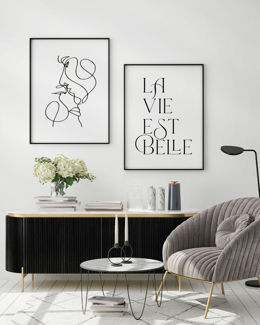 Kit de Quadros com Frase La vie Est Belle