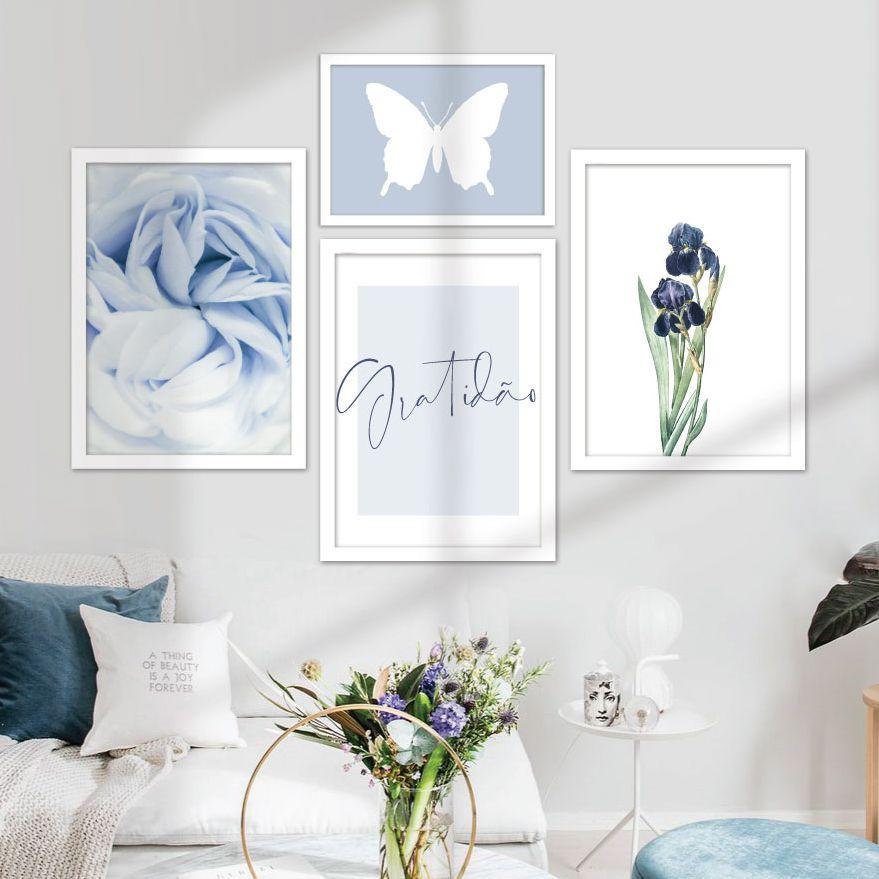 Kit de Quadros Decorativos com Moldura Branca - Flores, Borboletas, Gratidão, Azul