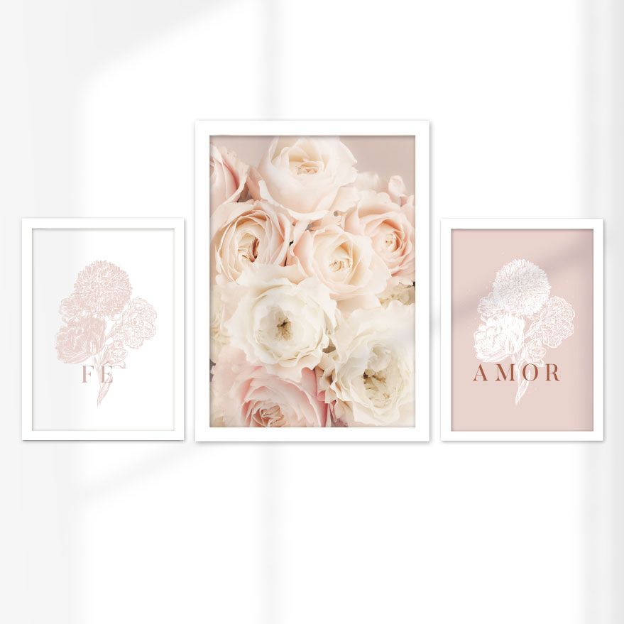 Kit de Quadros Decorativos com Moldura - Fé, Amor e Flores