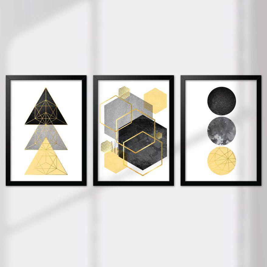 Kit de Quadros Decorativos com Moldura - Geométrico Cinza E Amarelo