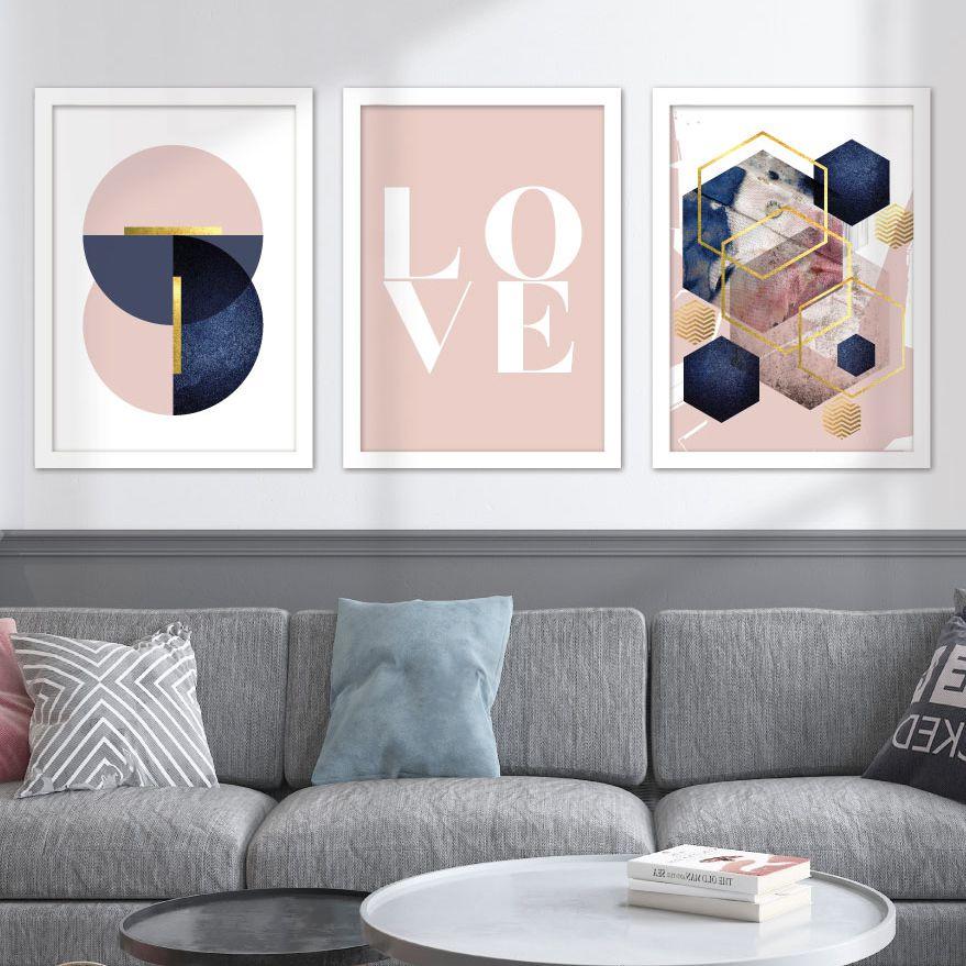 Kit de Quadros Decorativos com Moldura - Love Azul Marinho e Rosa Geométrico
