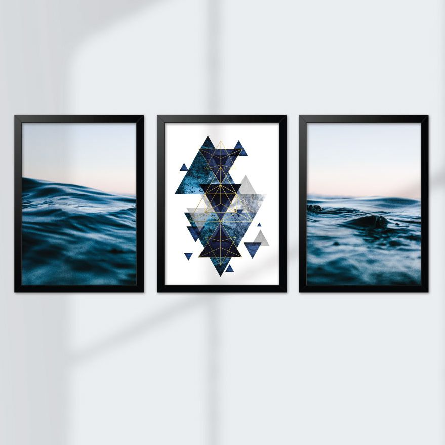 Kit de Quadros Decorativos com Moldura - Mar Geométrico Azul