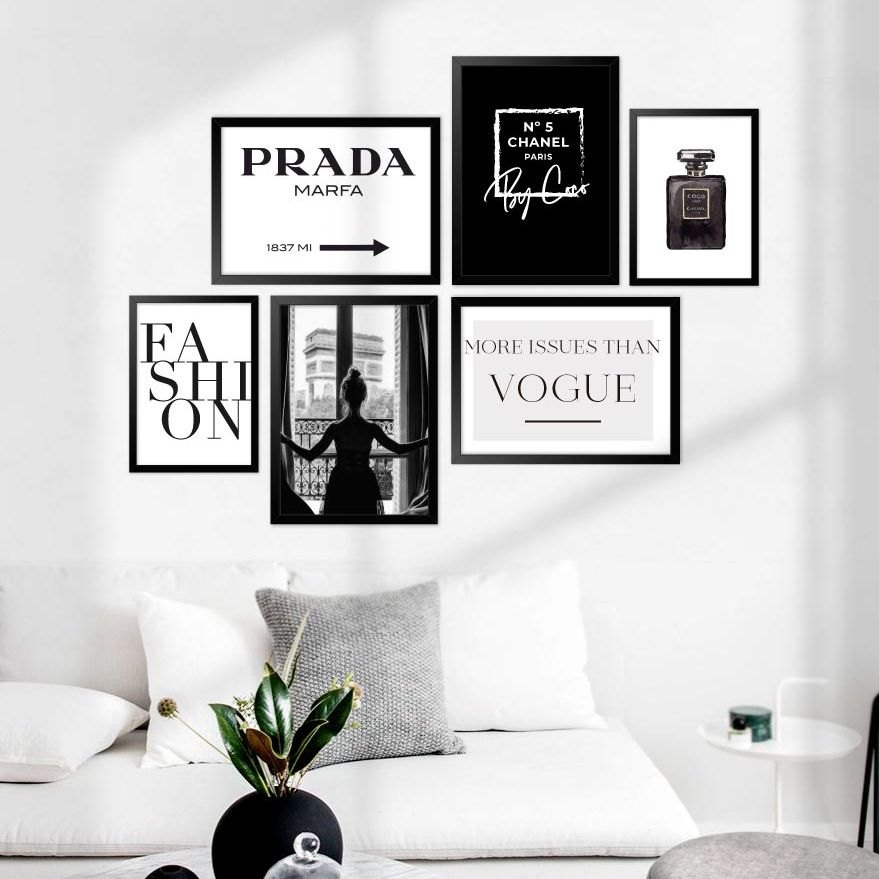 Kit de Quadros Decorativos com Moldura - Minimalista, Fashion, Preto e Branco