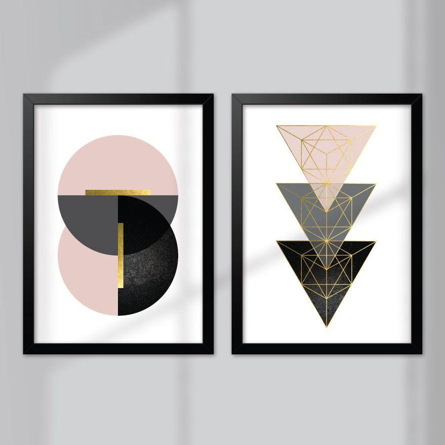 Kit de Quadros Decorativos com Moldura - Minimalista, Geométrico, Rosa e Dourado