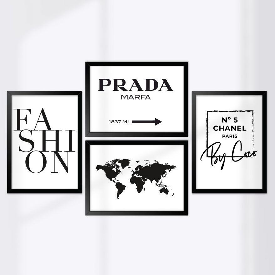 Kit de Quadros Decorativos com Moldura Mundo da Moda