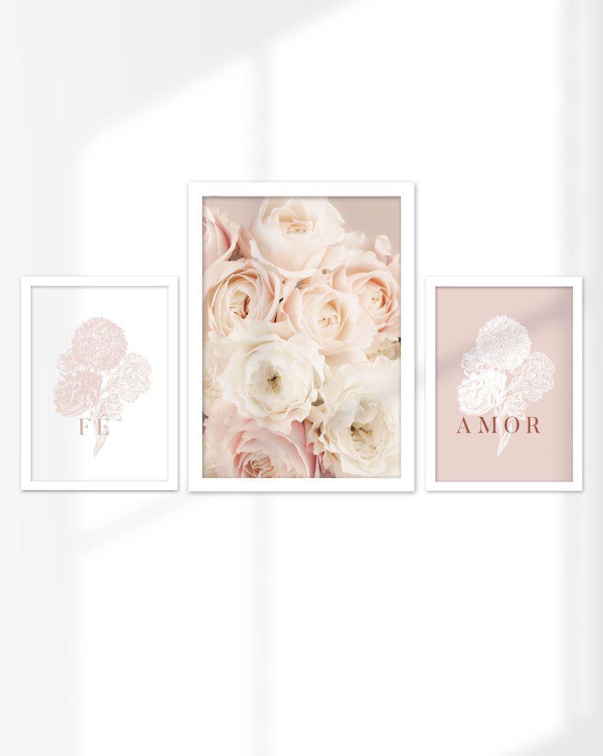 Kit de Quadros - Fé e Amor Floral