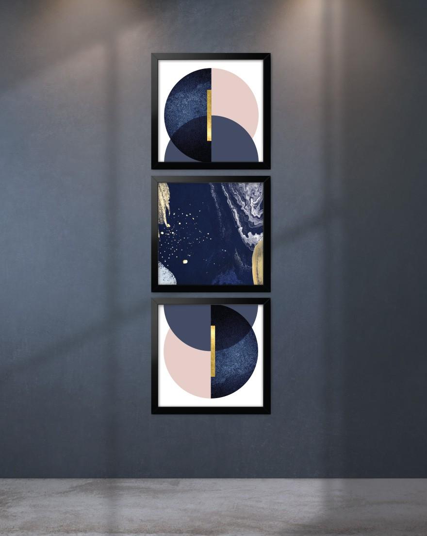 Kit de Quadros - Geometric Blue Blush Quadrados