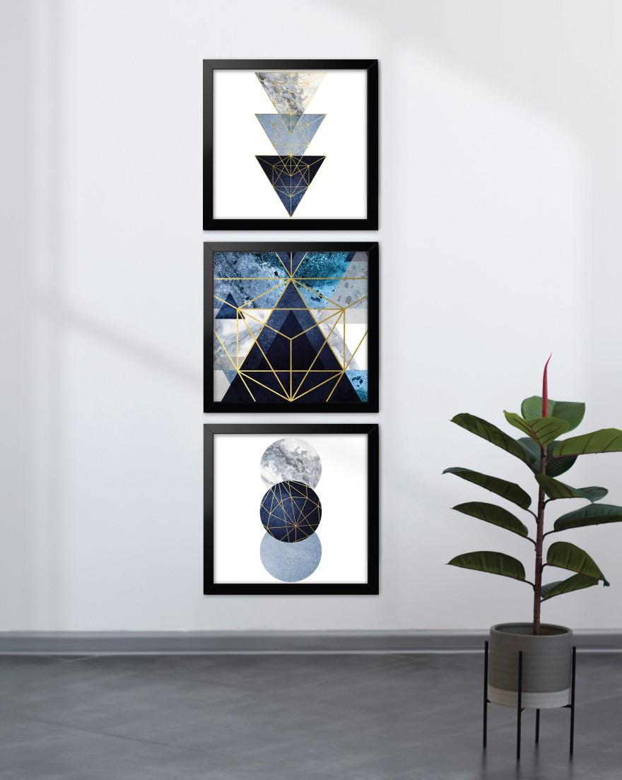 Kit de Quadros - Geometric Blue Quadrados