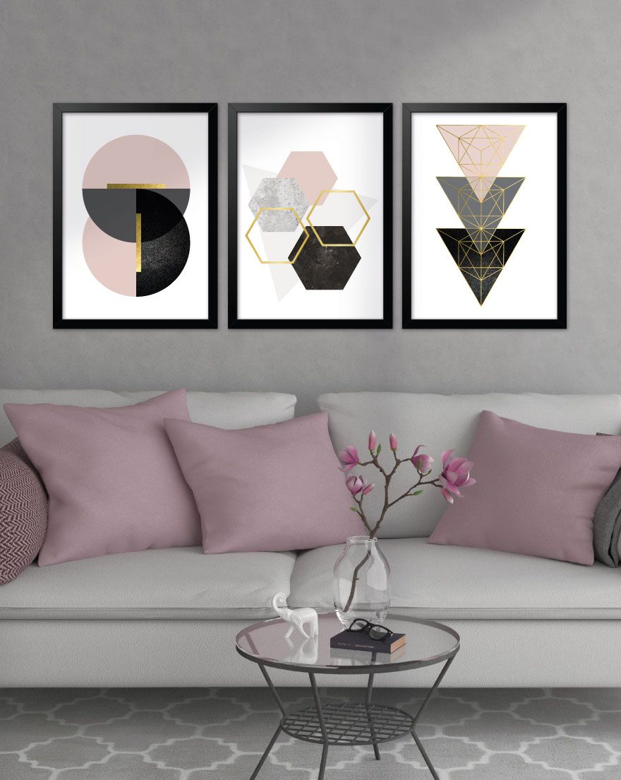 Kit de Quadros - Geometric Blush Black Gold