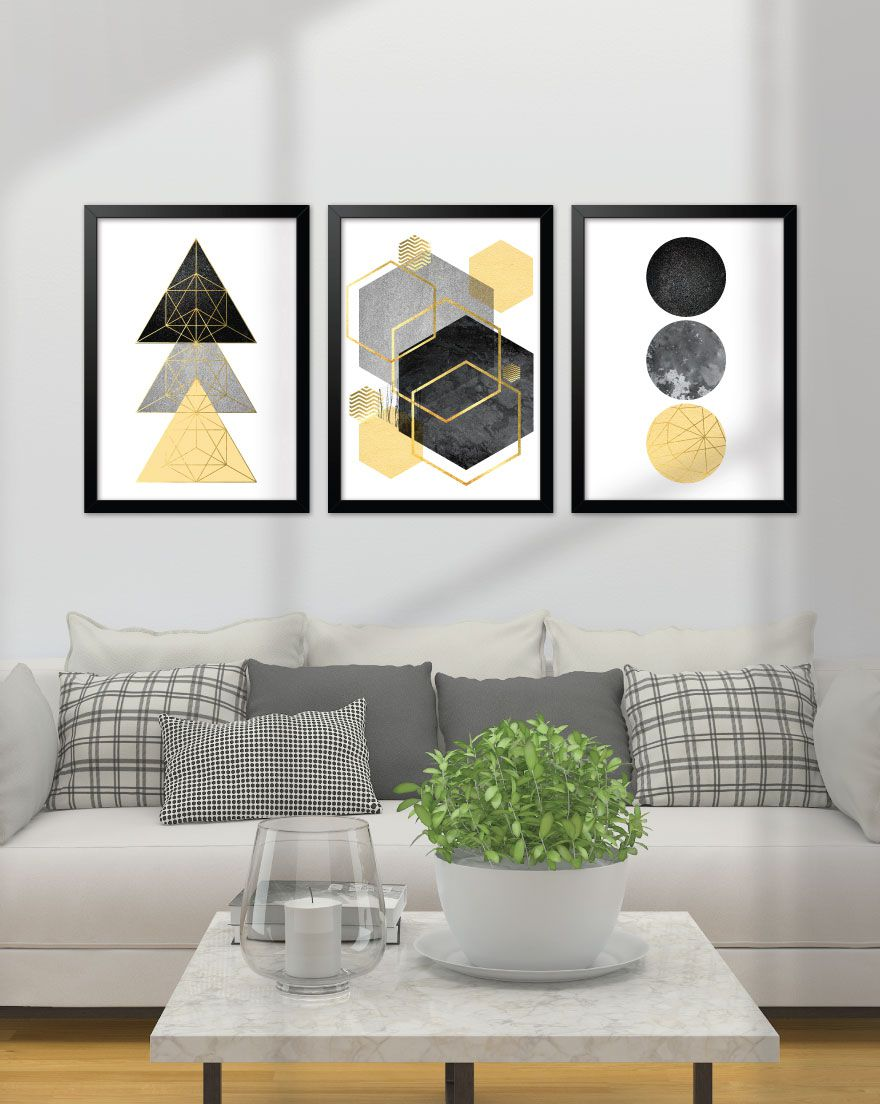 Kit de Quadros - Geometric Gold & Yellow