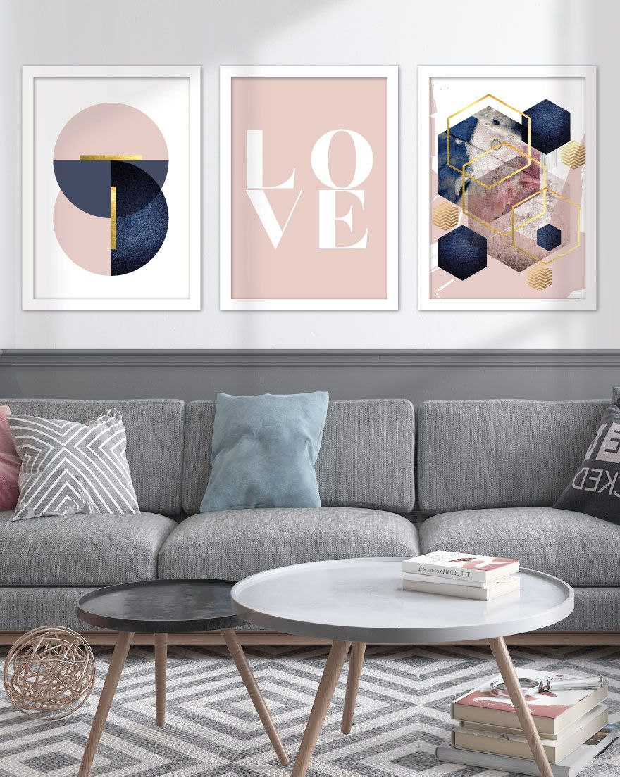 Kit de Quadros - Love Navy Pink