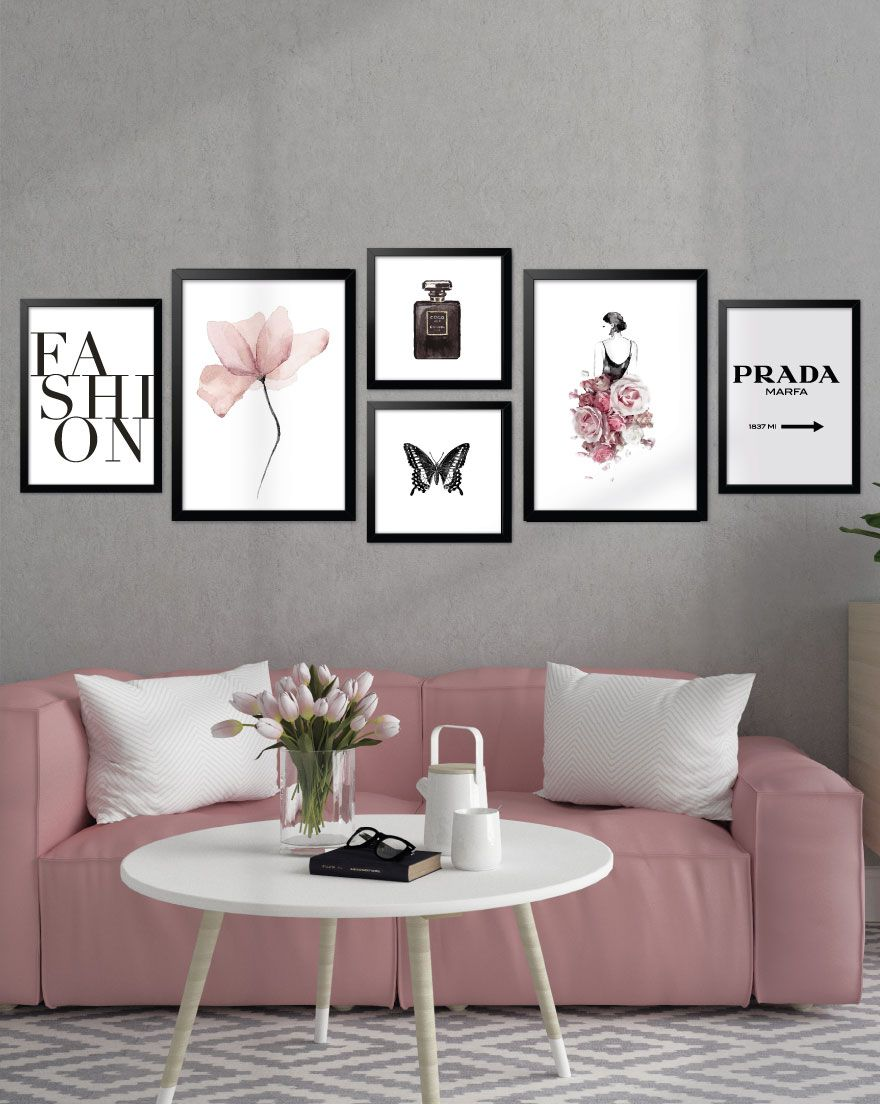 Kit de Quadros - Moda Black Pink
