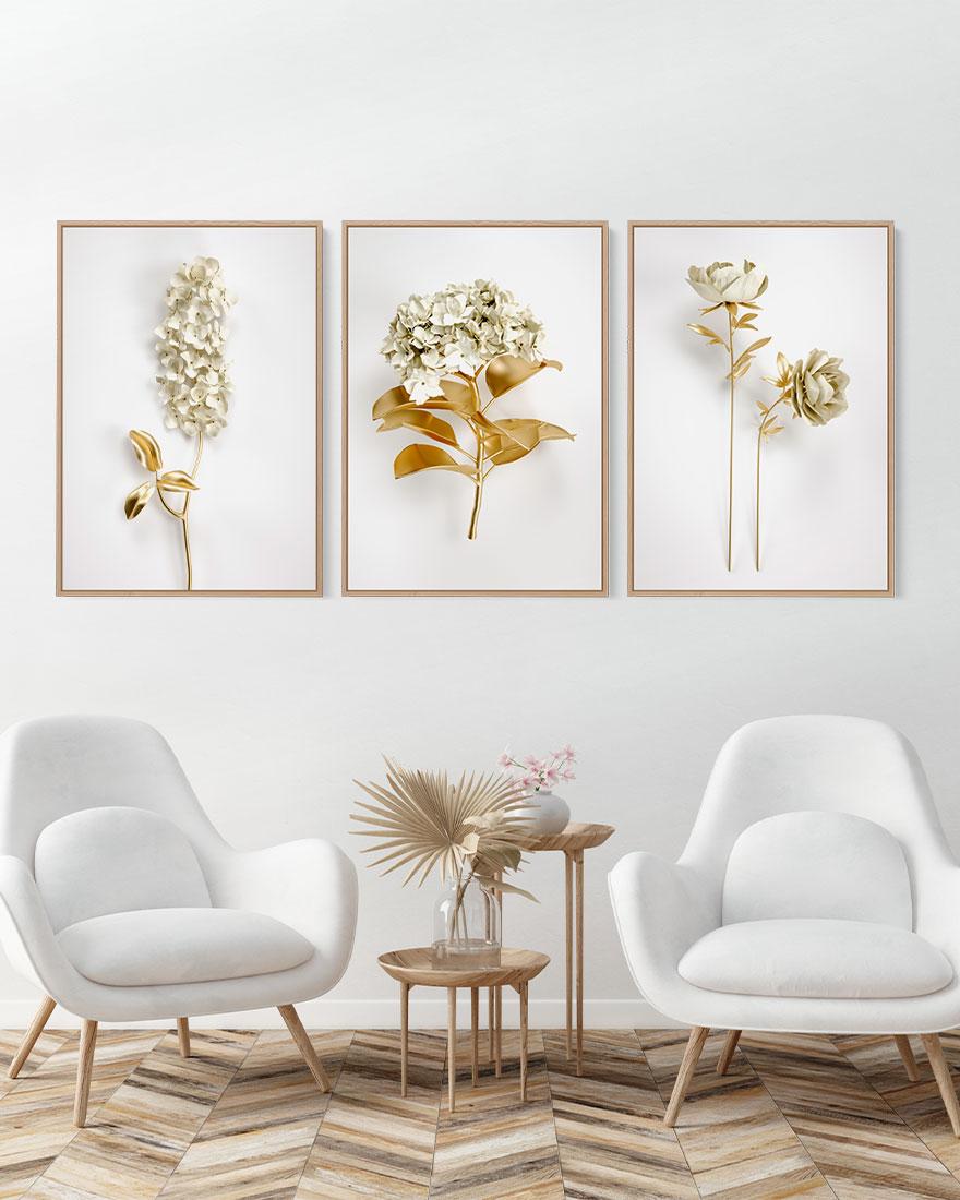 Kit de Quadros para Sala Flor Dourada