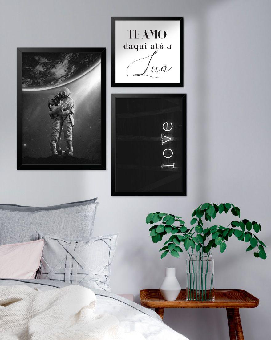 Kit de Quadros - Te Amo Daqui até a Lua