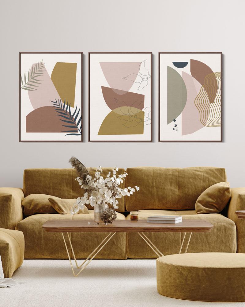 Kit Quadros Decorativos Abstratos - Geometria Tropical