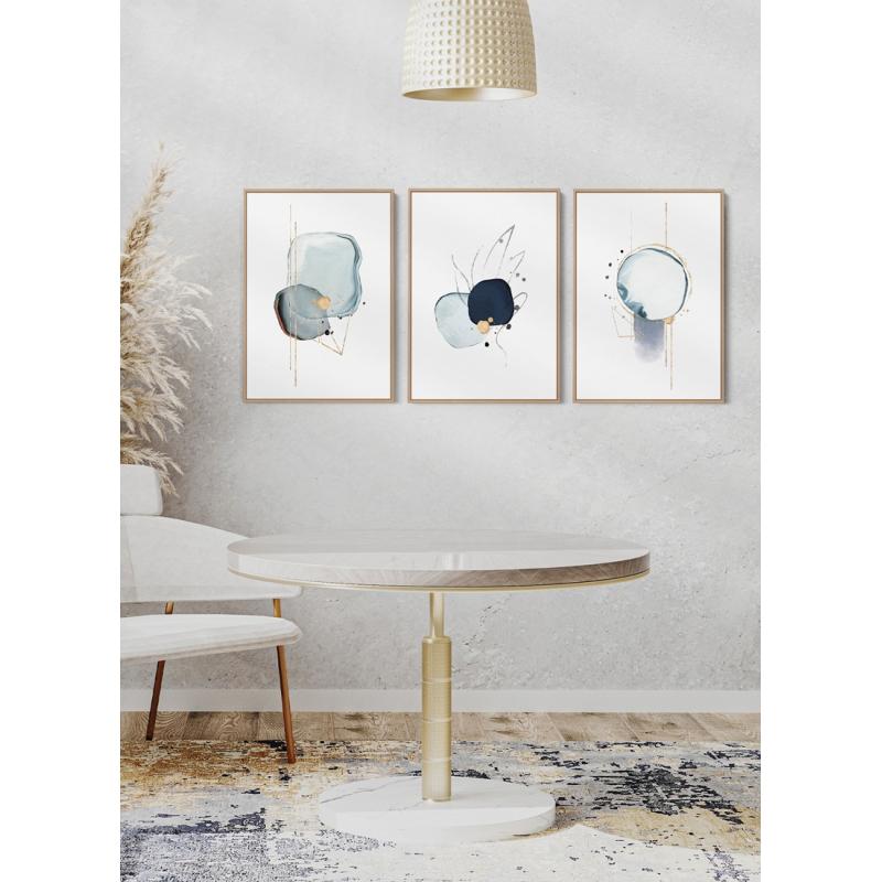 Kit Quadros Decorativos Abstratos - Superfícies Blue