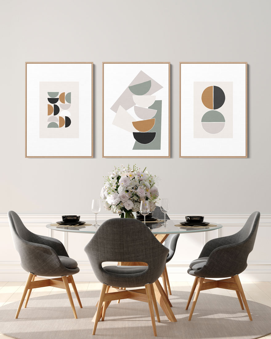 Kit Quadros Decorativos - Geometria Contemporânea