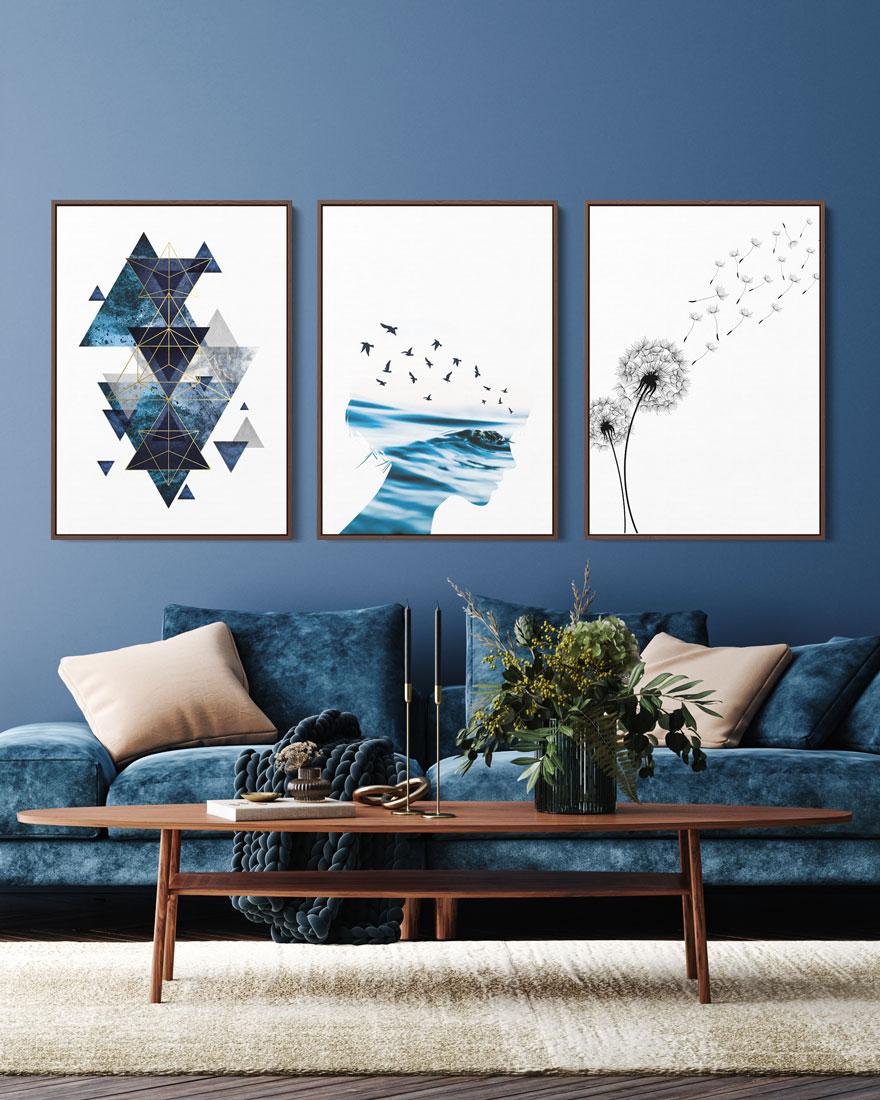 Kit Quadros Decorativos Oceans - Azul