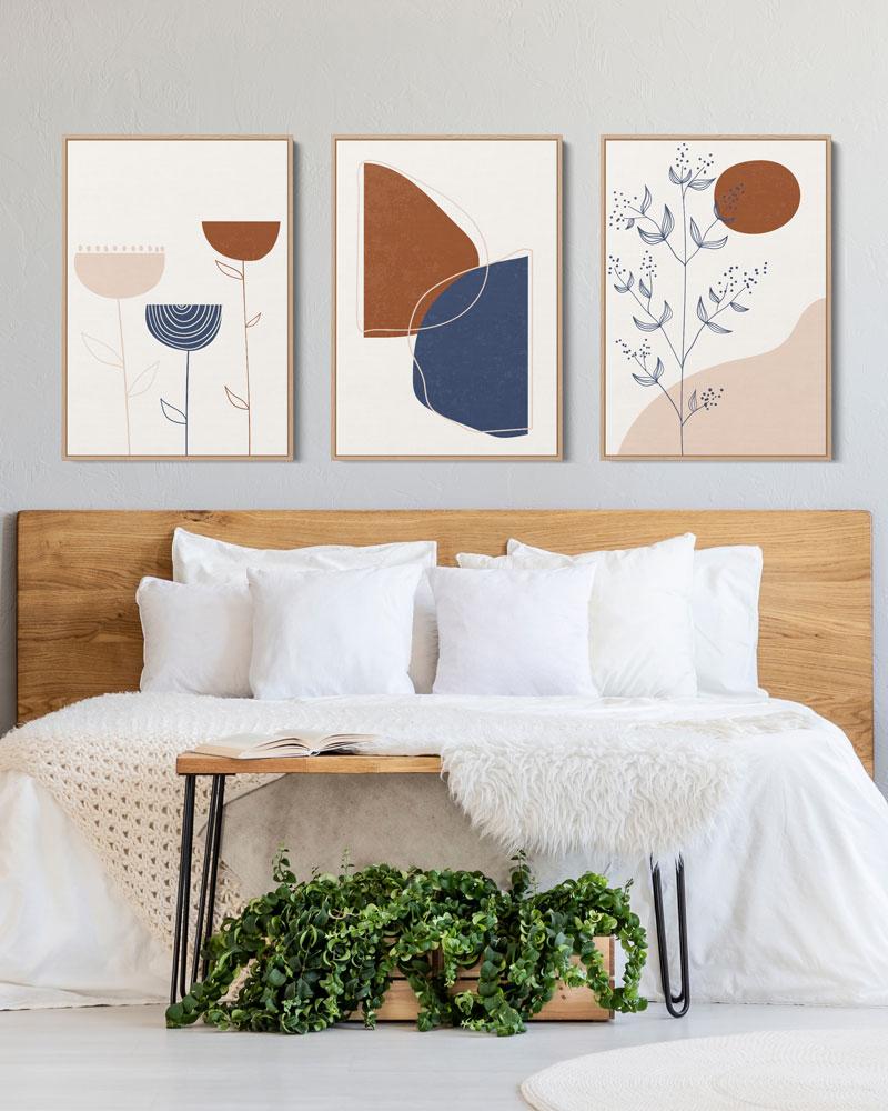 Kit Quadros Decorativos - Quarto do Casal - Abstração Floral