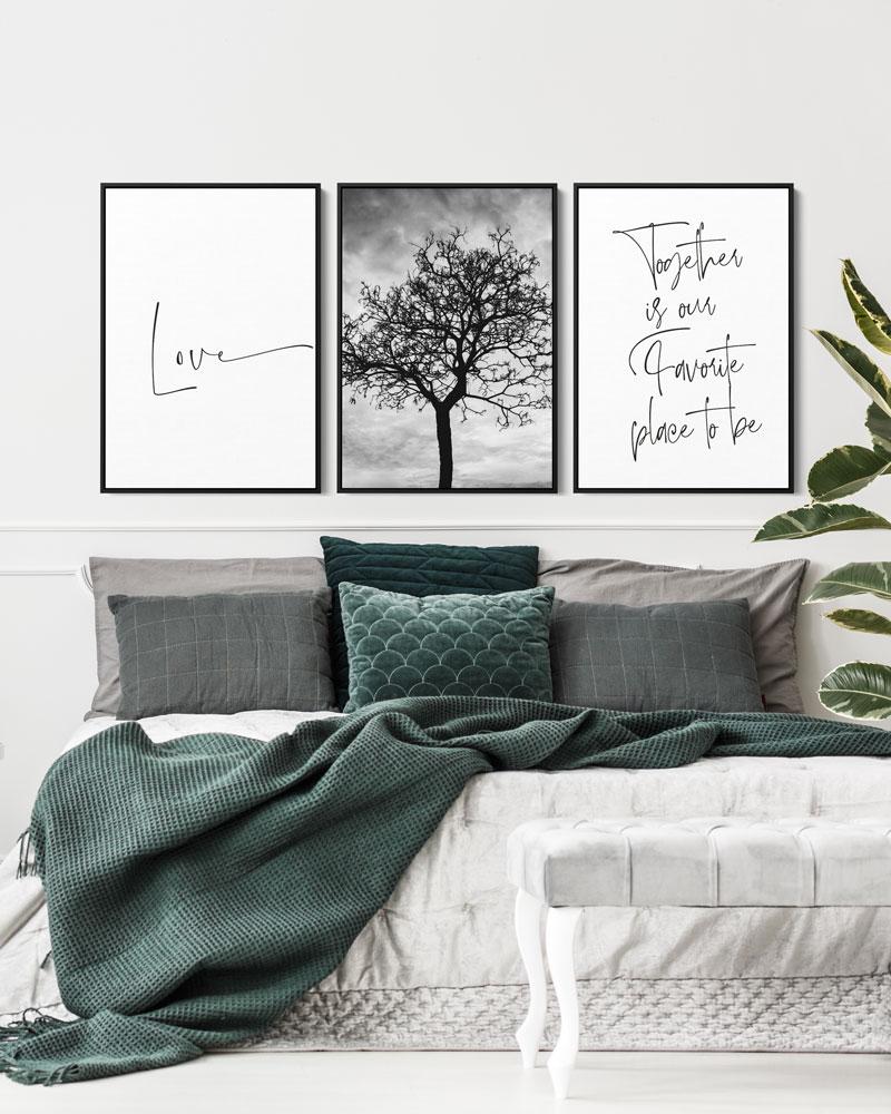 Kit Quadros Decorativos - Quarto do Casal - Together Love
