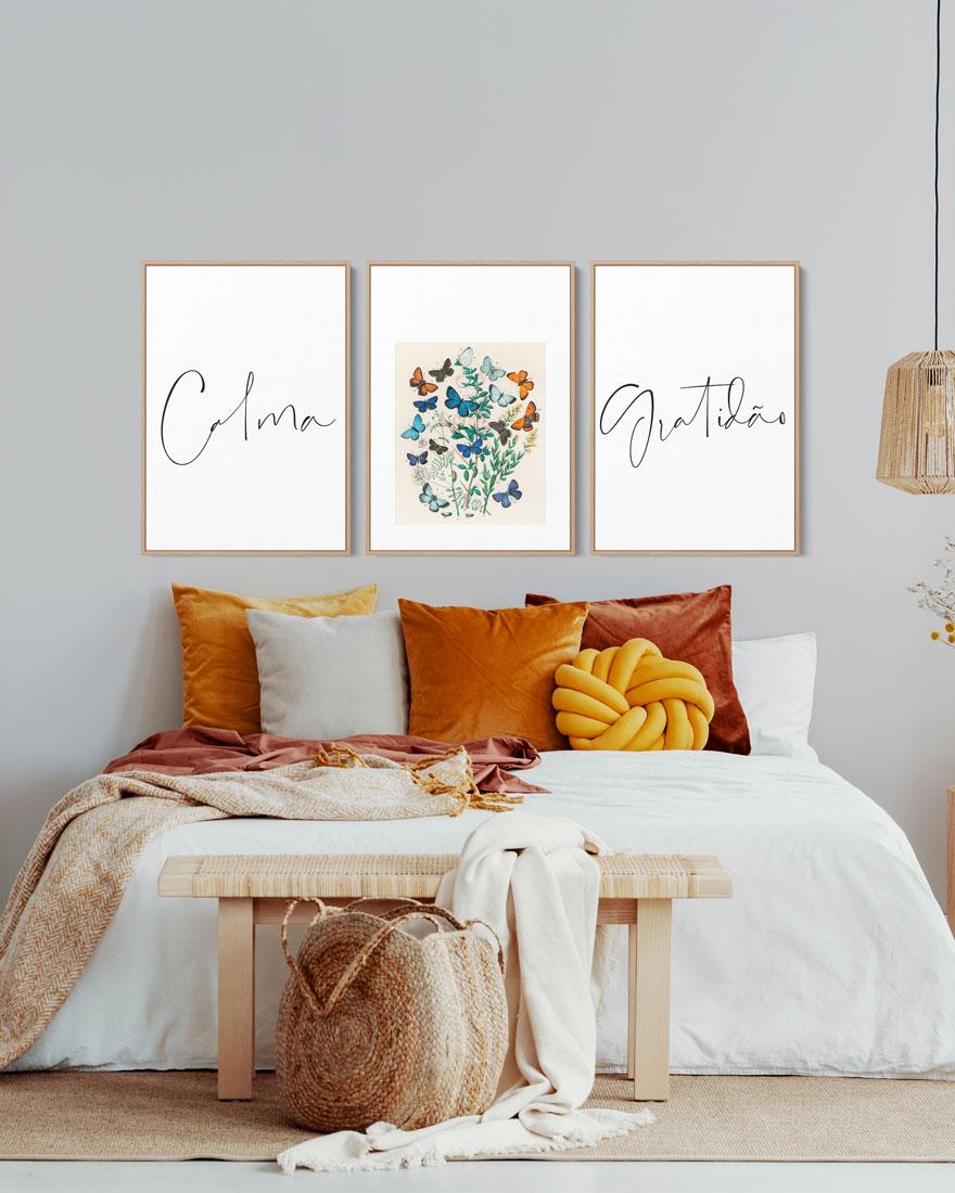 Kit Quadros Decorativos - Quarto Feminino - Borboletas e Palavras