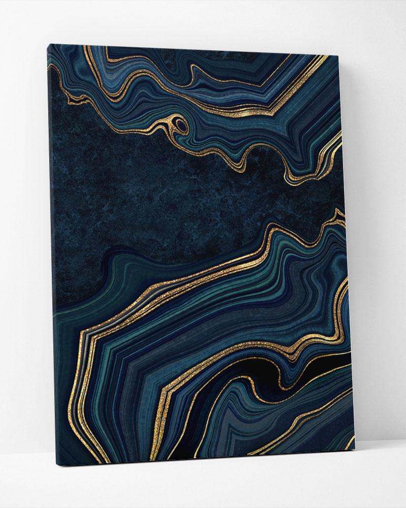 Placa Decorativa Abstrato Marble Navy