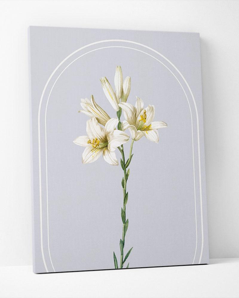 Placa Decorativa Buquê  De Lírios Brancos