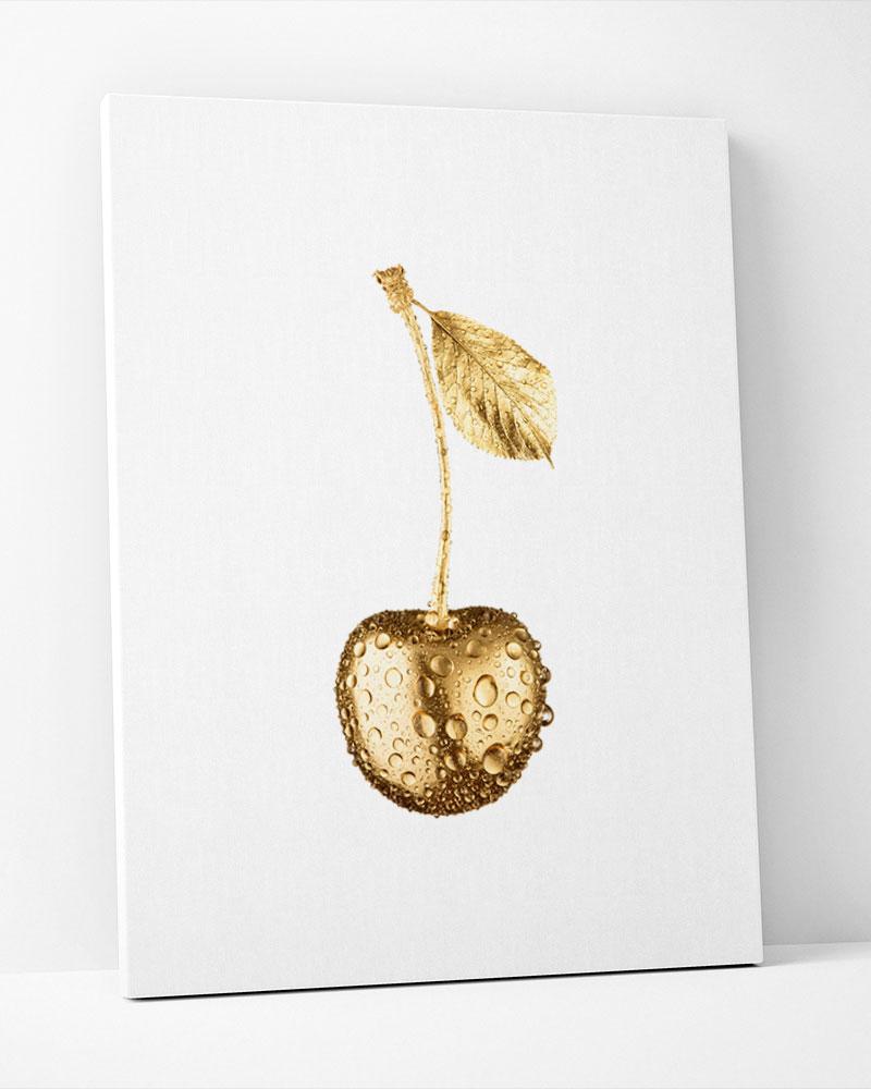 Placa Decorativa Cereja Dourada