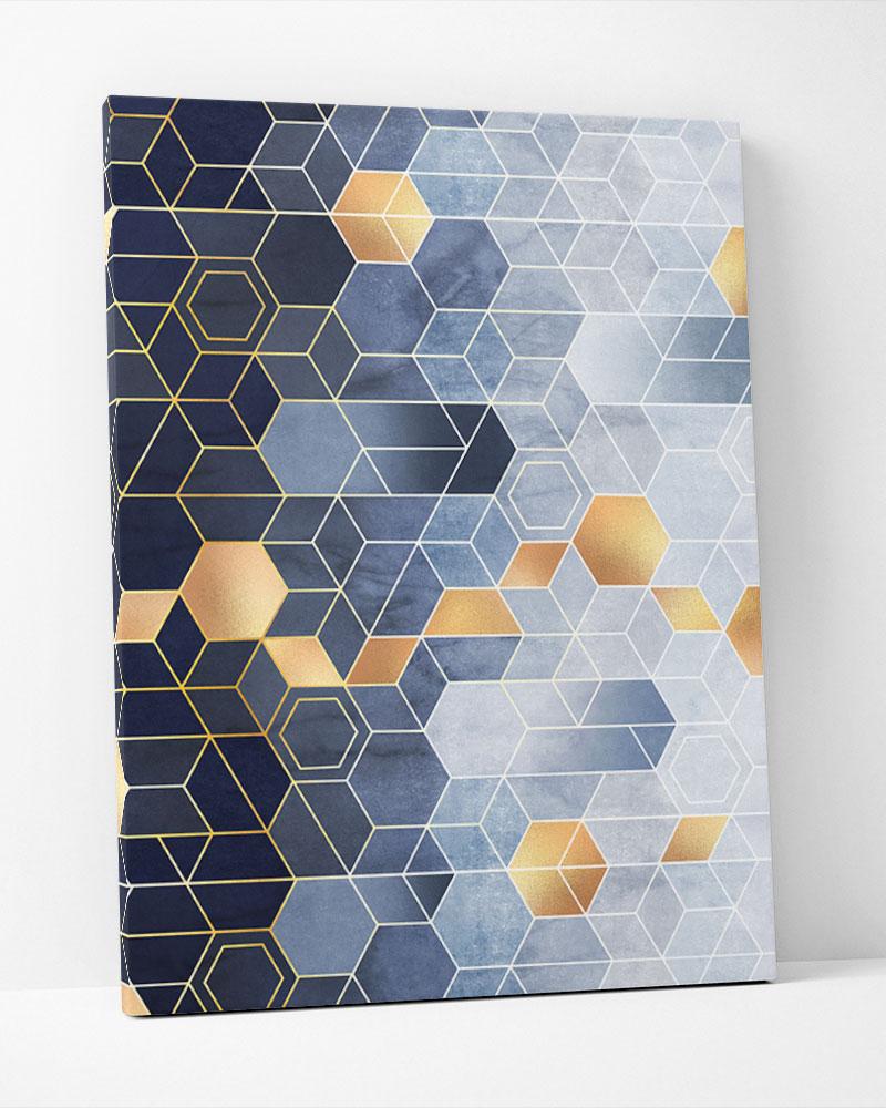 Placa Decorativa Conexões Geométricas Azul