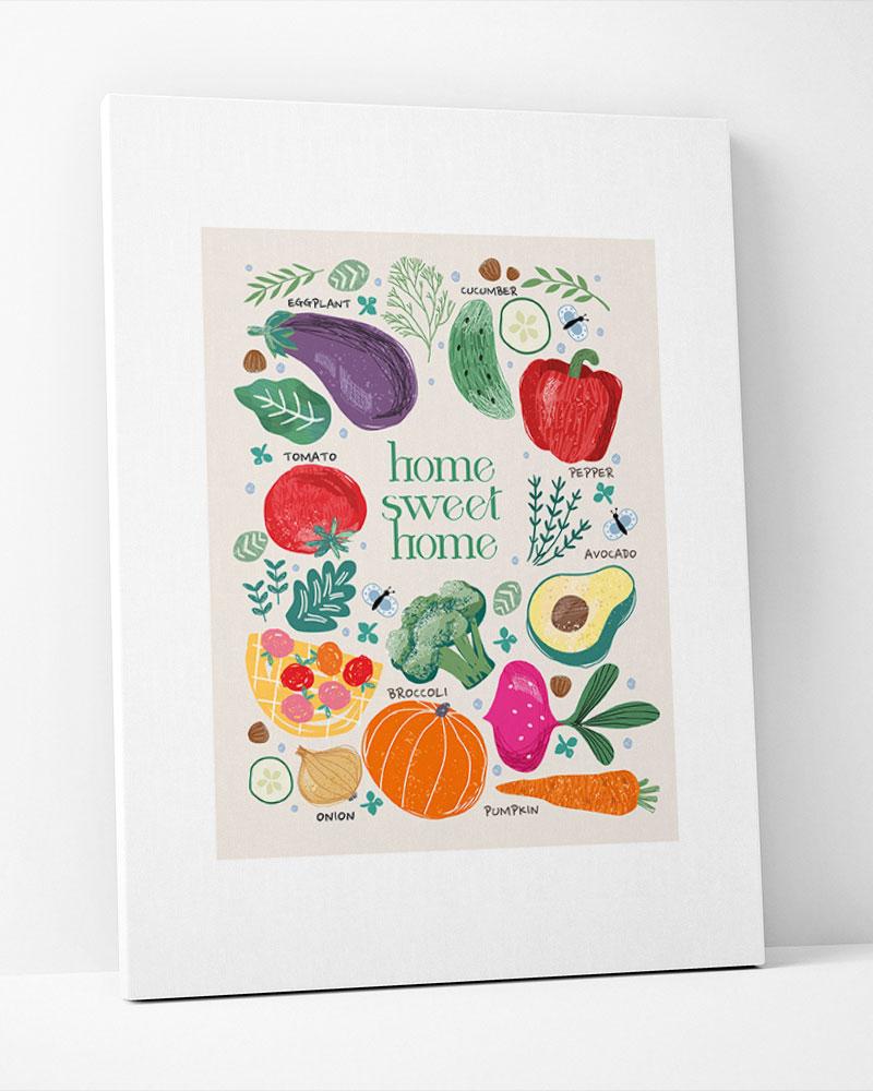 Placa Decorativa Cozinha Legumes
