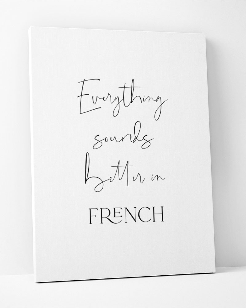 Placa Decorativa Everything Souds Better In French