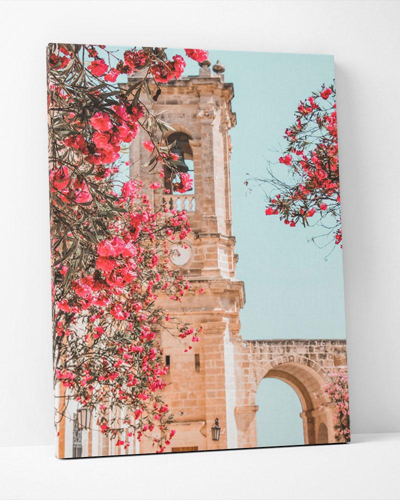 Placa Decorativa Flores E Arco