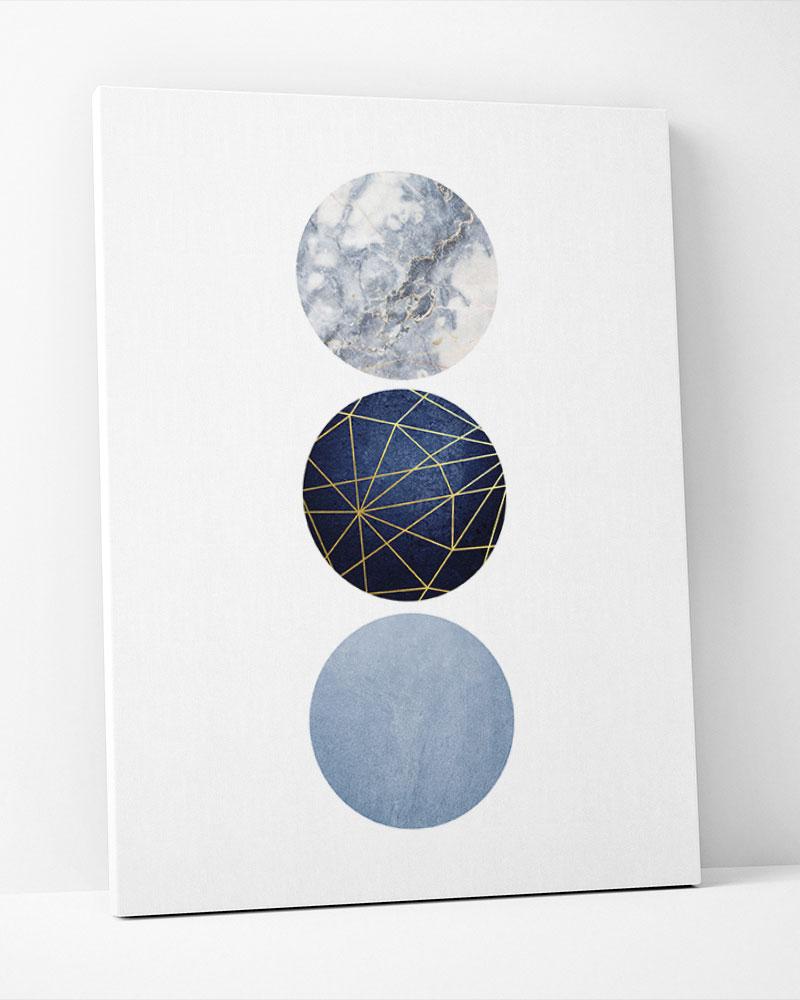 Placa Decorativa Geométrico Azul Círculos