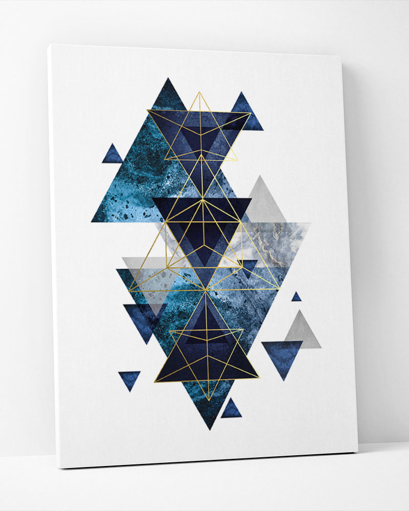 Placa Decorativa  Geometrico Azul II