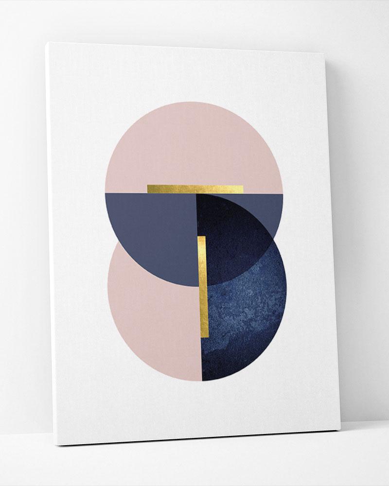 Placa Decorativa  Geometrico Azul Rosé