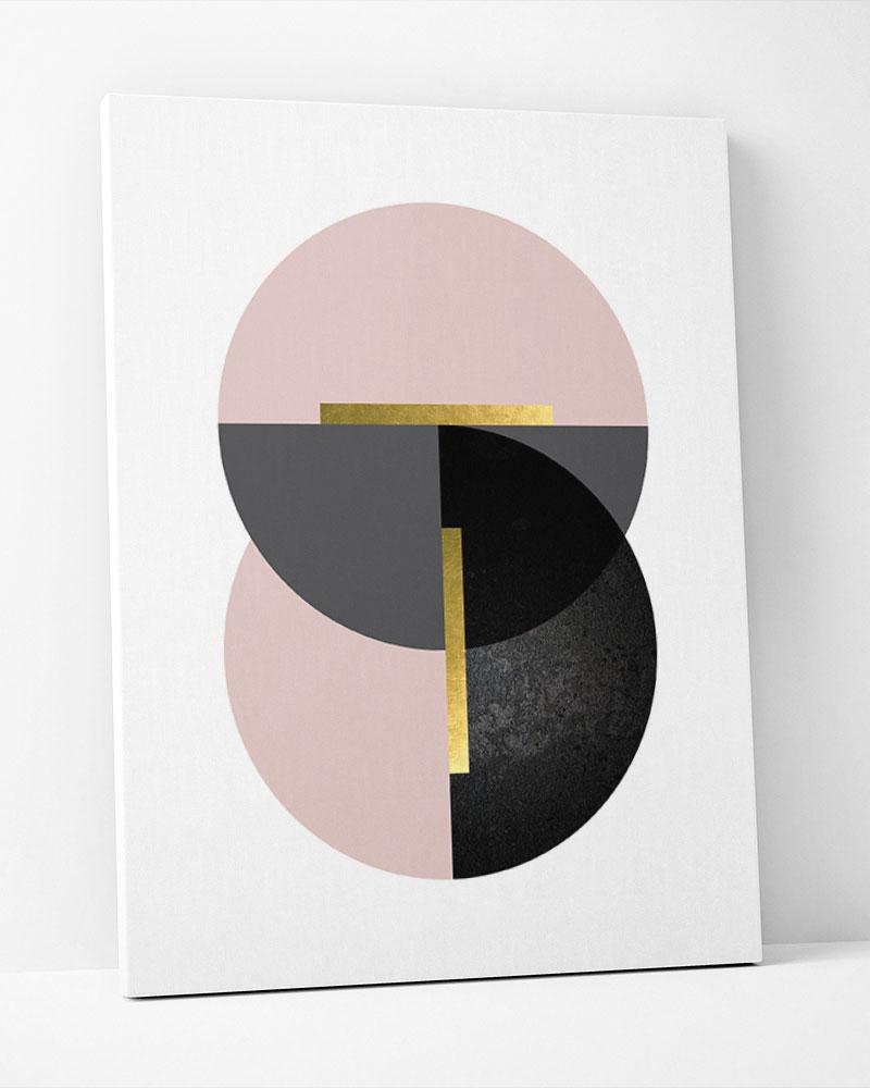 Placa Decorativa  Geometrico Cinza Rosé III