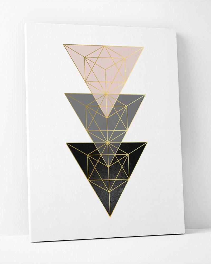 Placa Decorativa Geometrico Rosé Cinza I