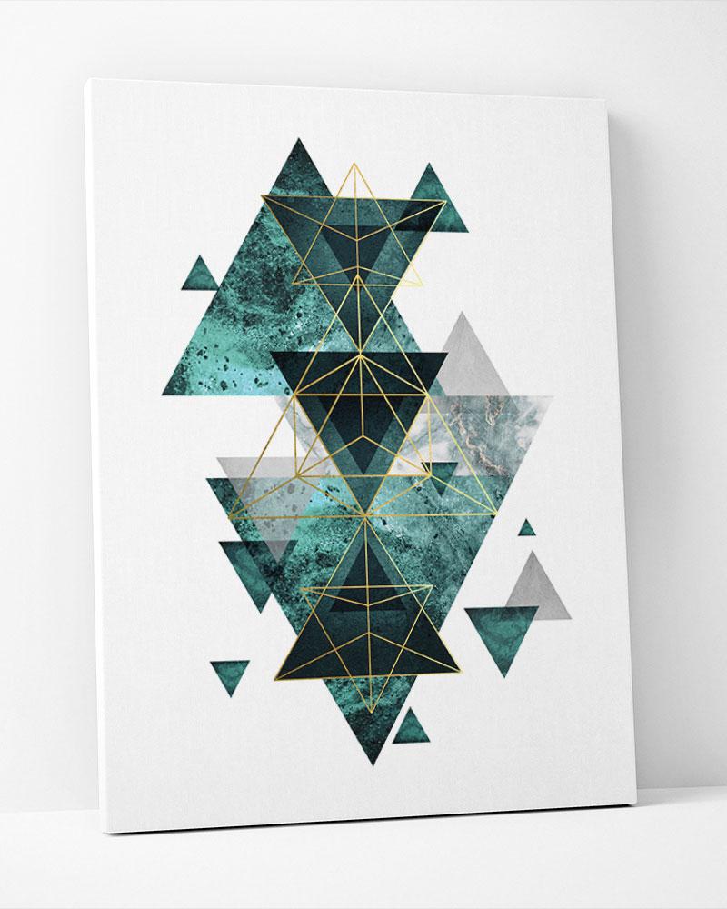 Placa Decorativa Geométrico Verde Esmeralda