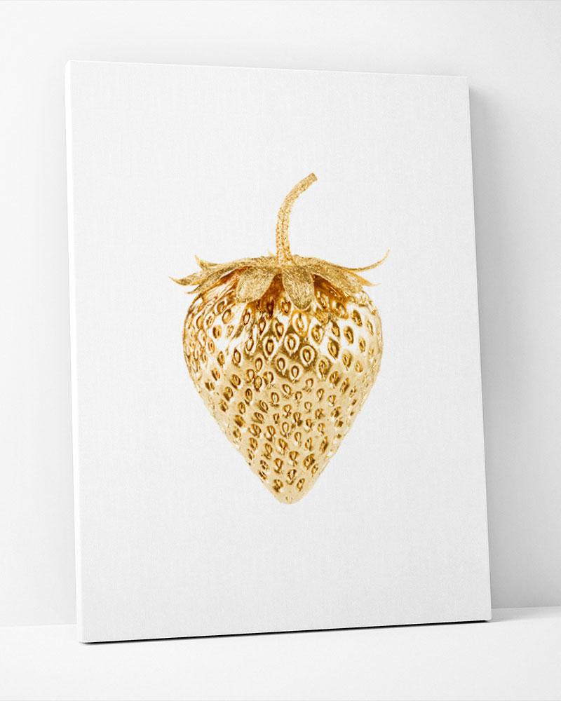 Placa Decorativa Morango Dourado