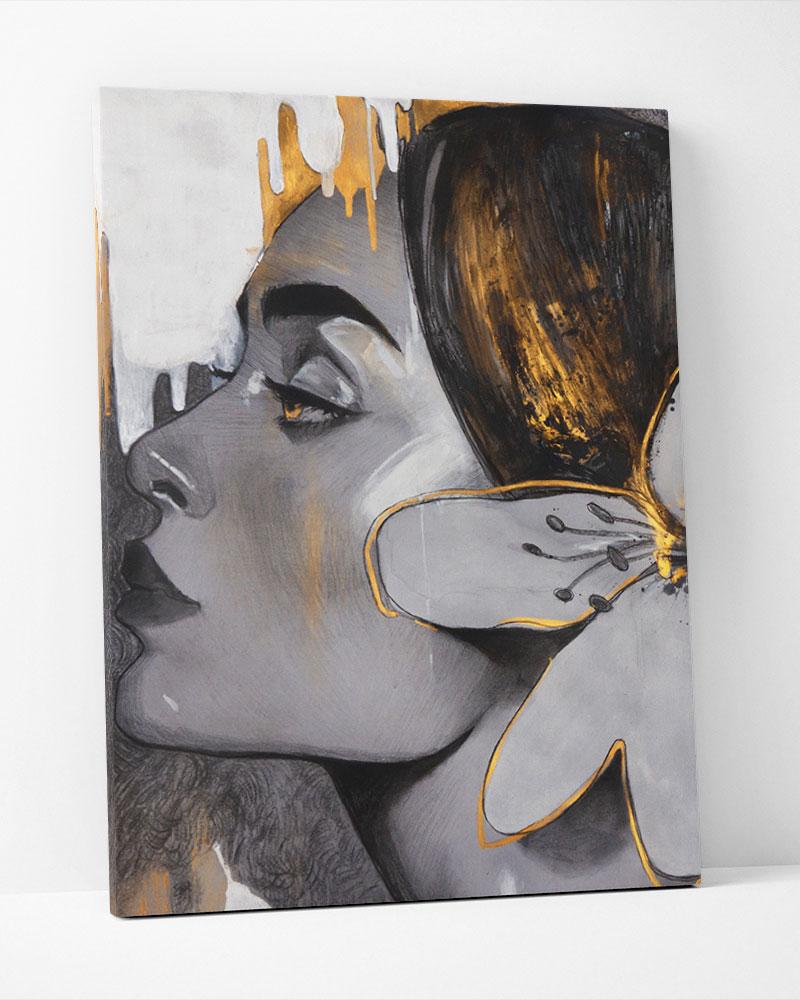 Placa Decorativa Perfil Dourado
