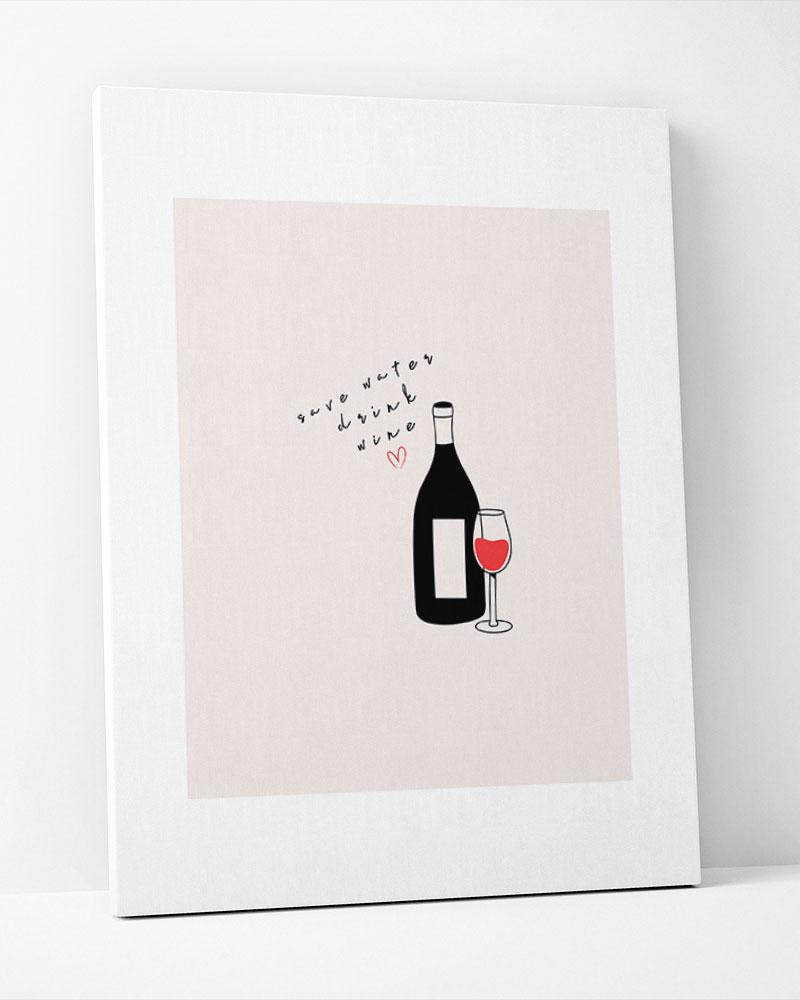 Placa Decorativa  Save Water Drink Wine