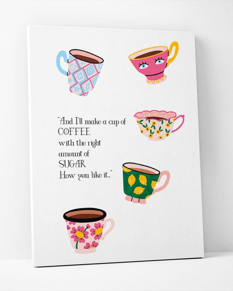 Placa Decorativa xícaras Coloridas