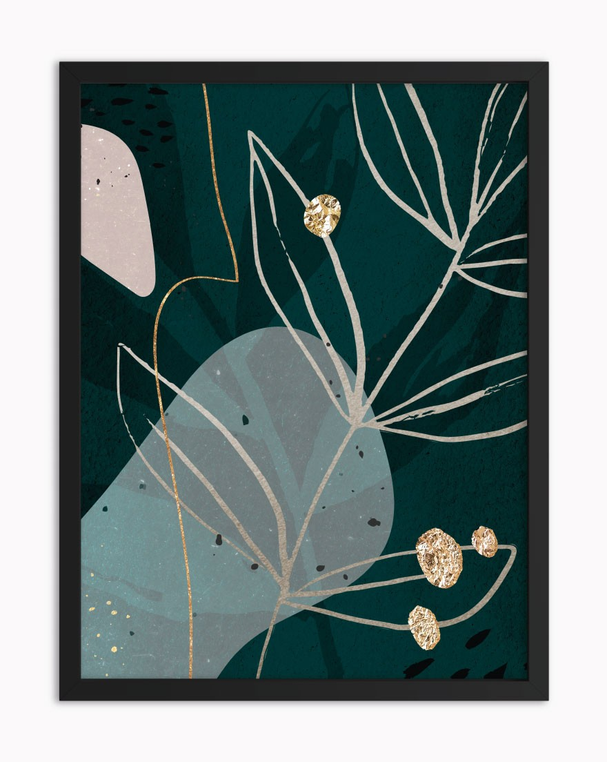 Quadro Abstract Green Gold