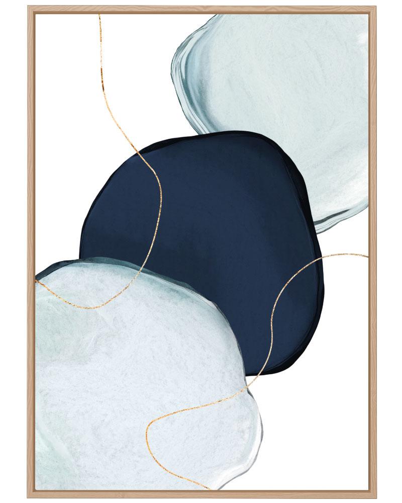 Quadro Abstrato Azul Dourado II
