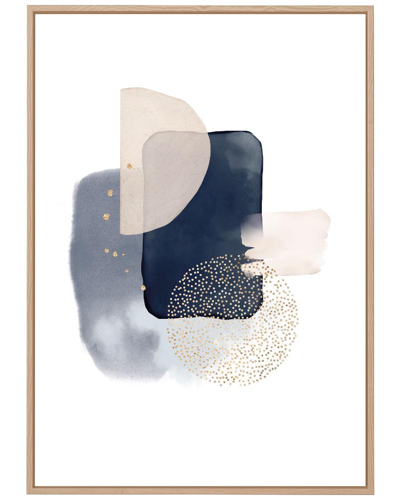 Quadro Abstrato Azul Dourado IV