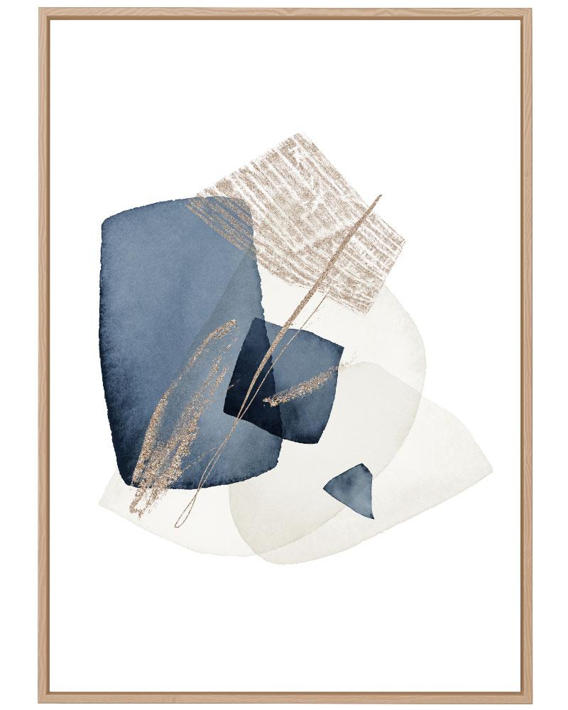 Quadro Abstrato Formas Azuis II