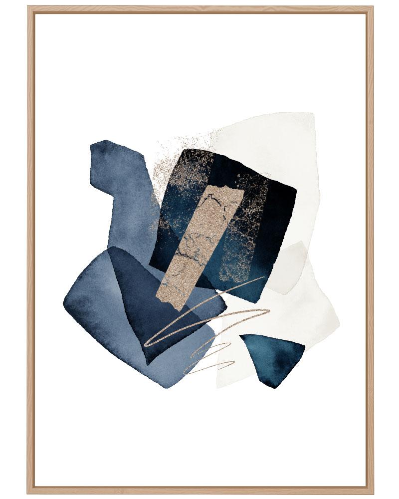 Quadro Abstrato Formas Azuis III